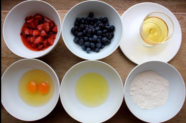 Ingredients for honey cloud pancakes by Things We Make: fresh fruit, honey, eggs, milk and flour.